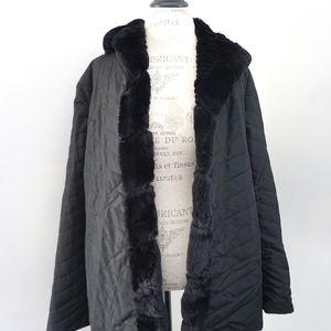 Peter Mark Black Rabbit Fur Reversible Hooded Coat